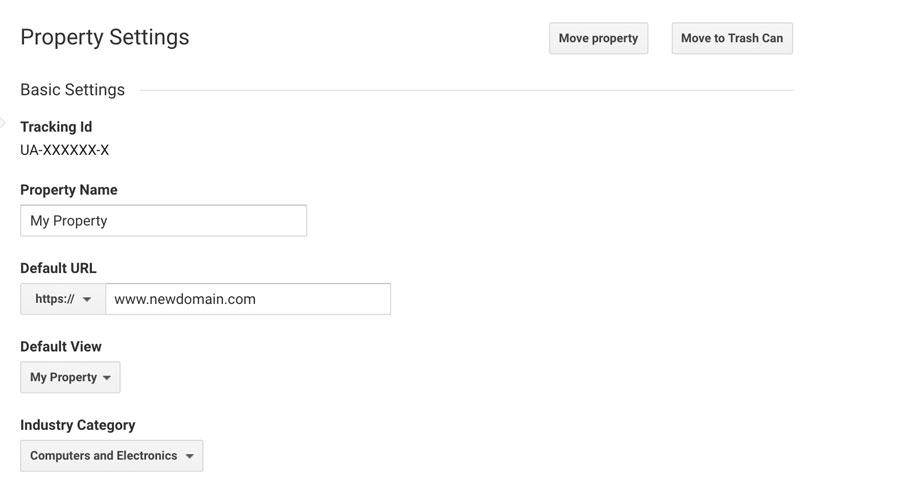 Google Analytics đổi tên miền WordPress